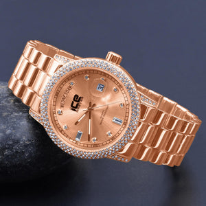 Iced Out Gold Plated Bling Metal Watch - The Trendy Accessories Store