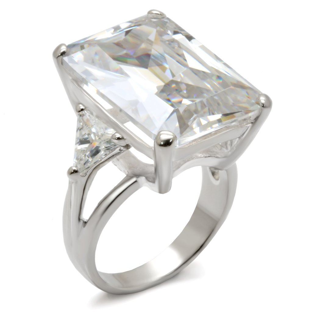 21214 High-Polished 925 Sterling Silver Ring with - The Trendy Accessories Store