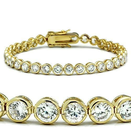47202 Gold Brass Bracelet with AAA Grade CZ - The Trendy Accessories Store