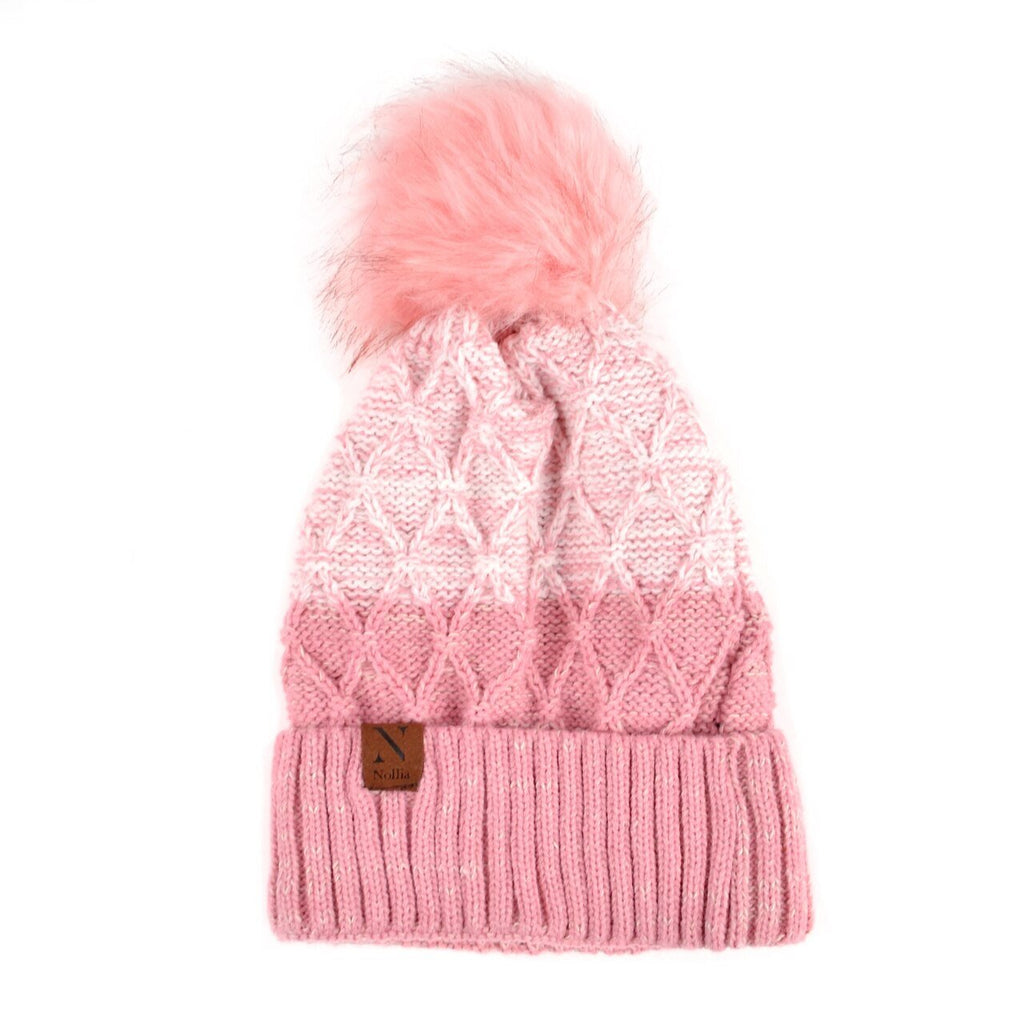 Split-Toned Pom Pom Knit Winter Hat - The Trendy Accessories Store