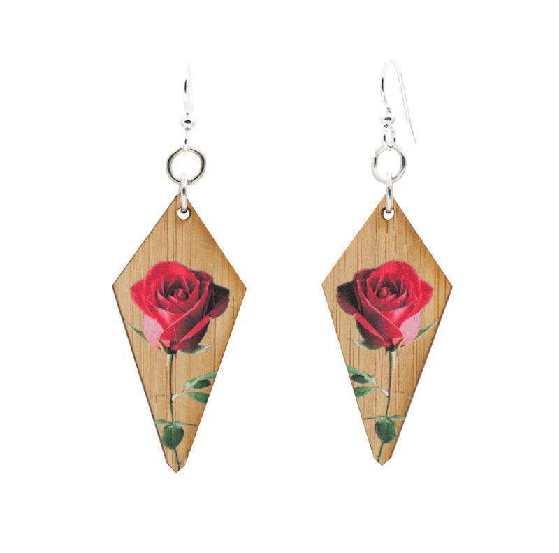 Final Rose Bamboo Earrings - The Trendy Accessories Store