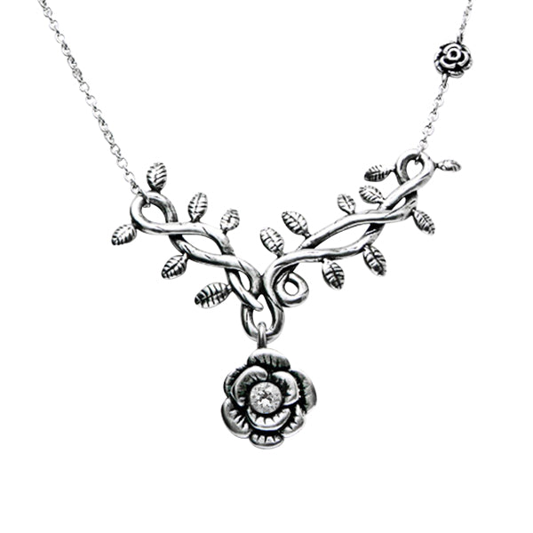Rose Vine with White CZ Necklace - The Trendy Accessories Store