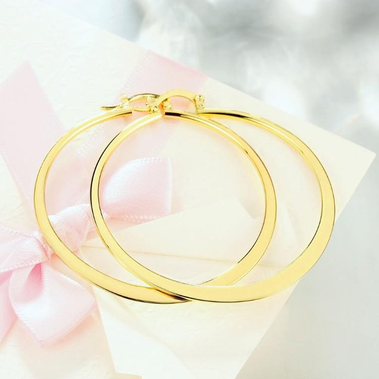 "2.16"" Flat Round Hoop Earring in 18K Gold Plated - The Trendy Accessories Store"