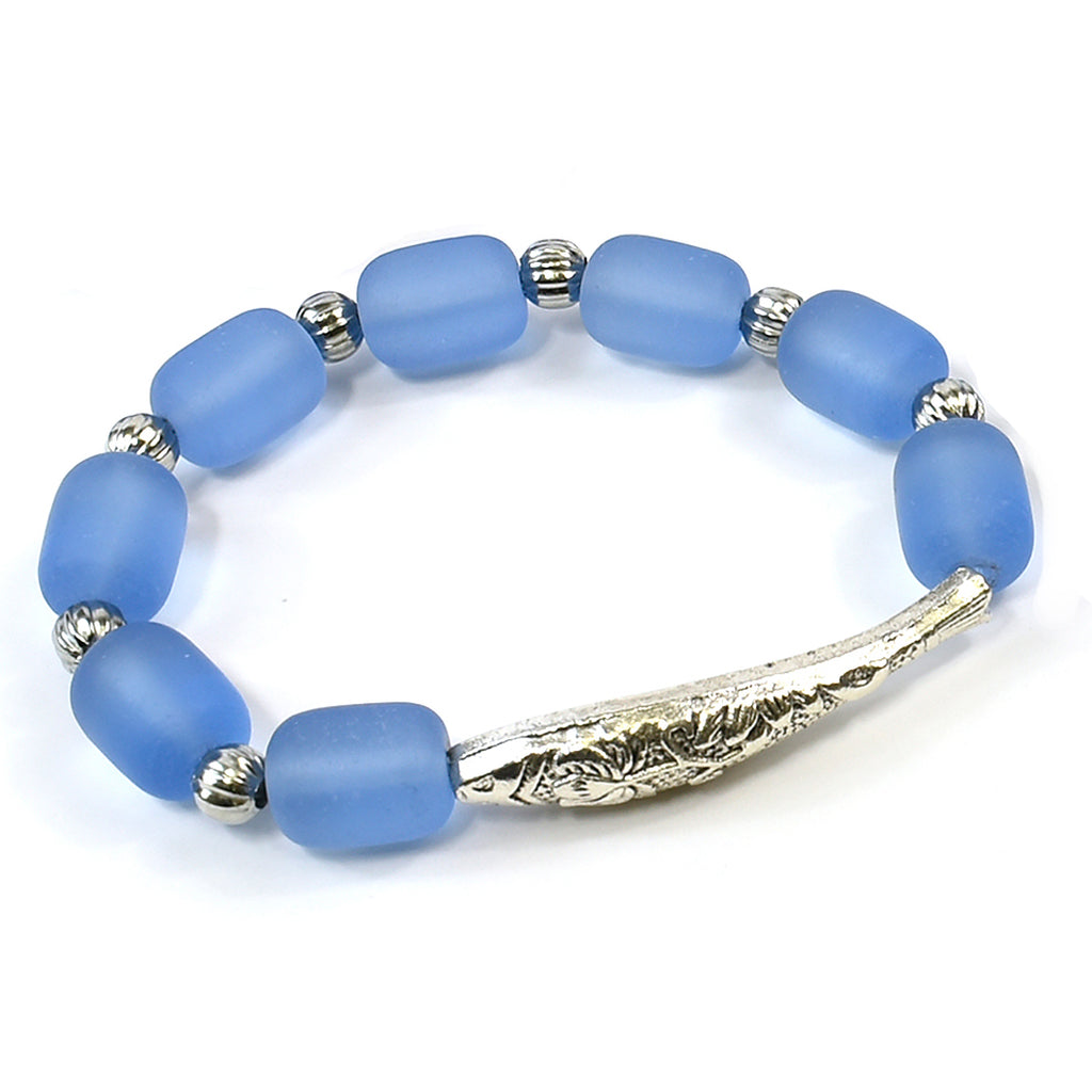 Stretchy Bar Fish Beach Glass Bracelet - The Trendy Accessories Store