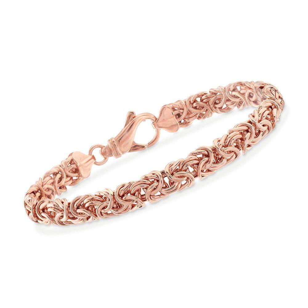 Classic 14K Rose Gold Plating Byzantine Design Chain Bracelet - The Trendy Accessories Store