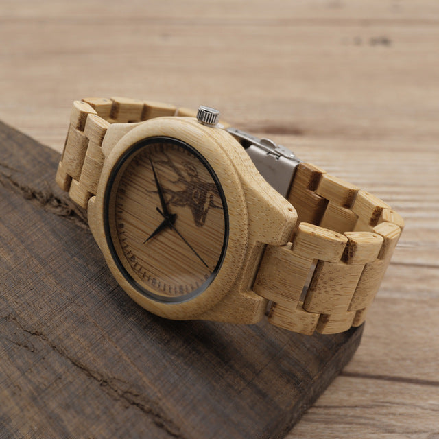 D28 Natural Bamboo Wood Watches With Deer - The Trendy Accessories Store