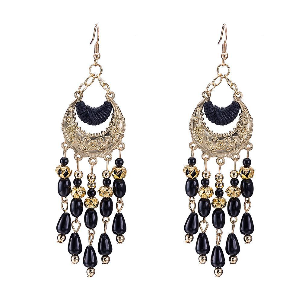 Fringe Black Drop Earring in 18K Gold Plated - The Trendy Accessories Store