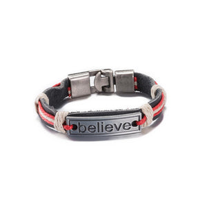 Believe Vintage Stainless Steel and Leather Bracelet - The Trendy Accessories Store