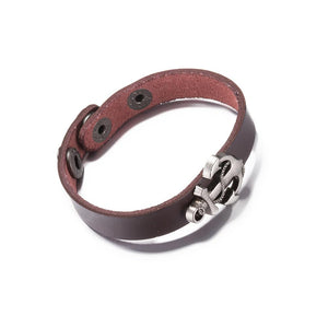Genuine Dark Brown Leather Bracelet with Stainless Steel - The Trendy Accessories Store