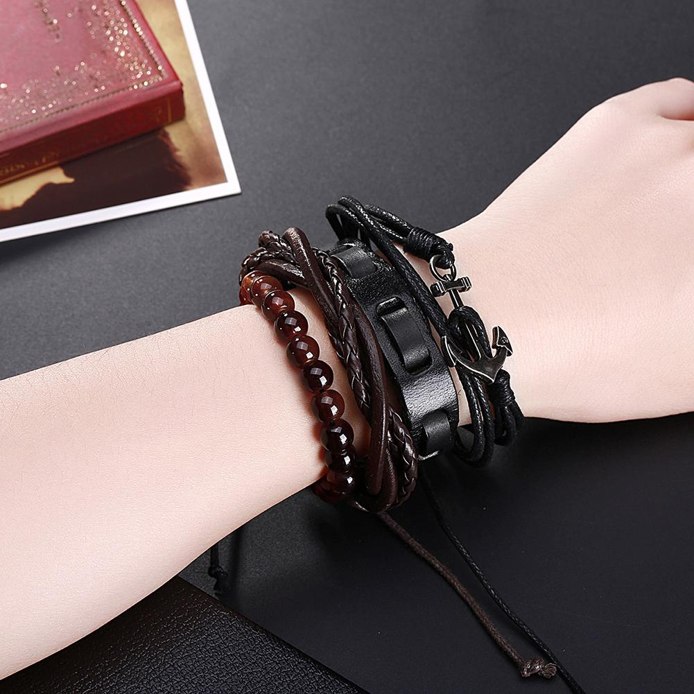 Genuine Trendy Leather Bracelet with Stainless Steel and Beads - The Trendy Accessories Store