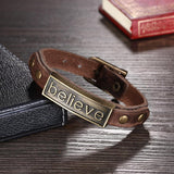 Believe Leather Bracelet with Stainless Steel - The Trendy Accessories Store