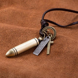 Bullet Stainless Steel and Leather Necklace - The Trendy Accessories Store