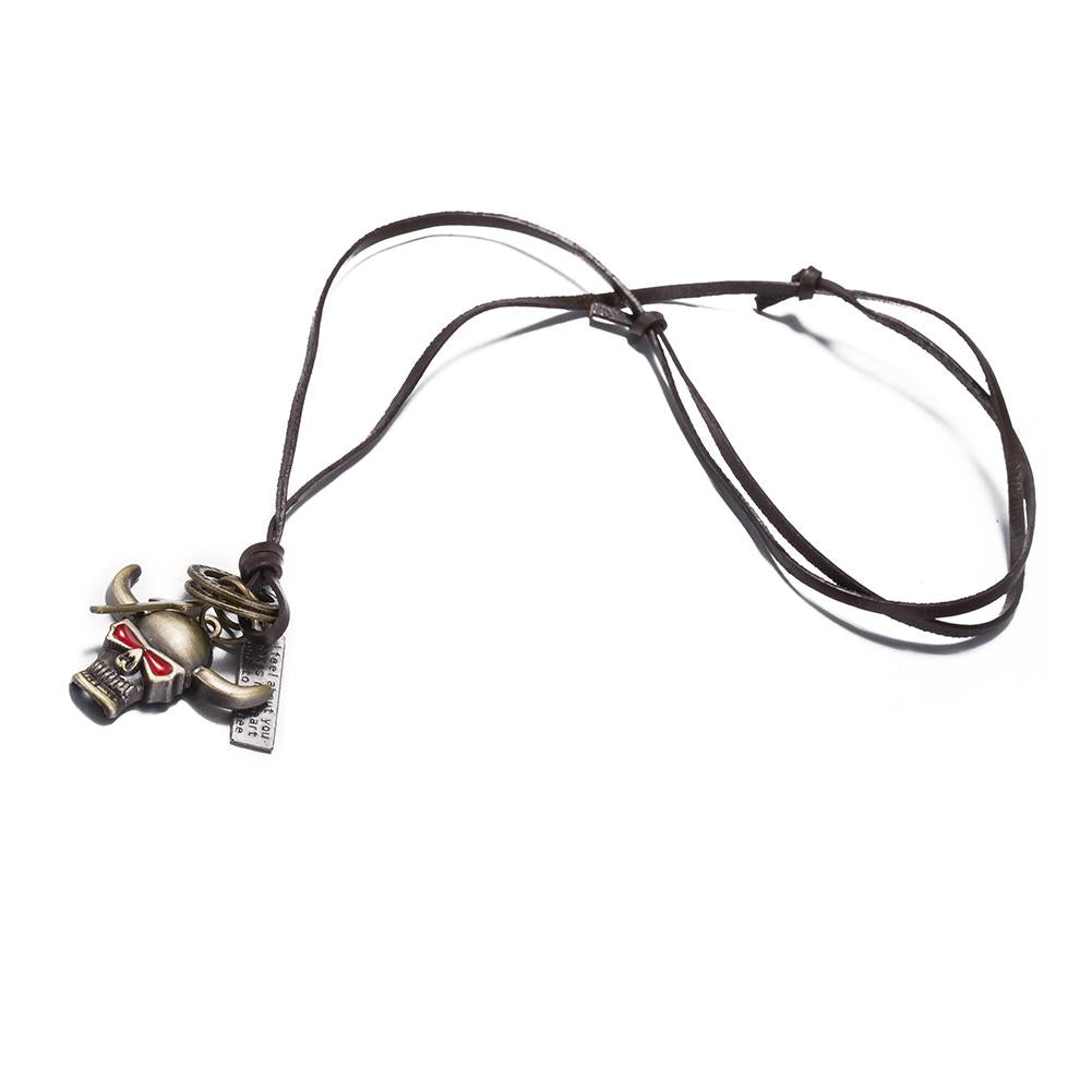 Bull Stainless Steel and Leather Necklace - The Trendy Accessories Store