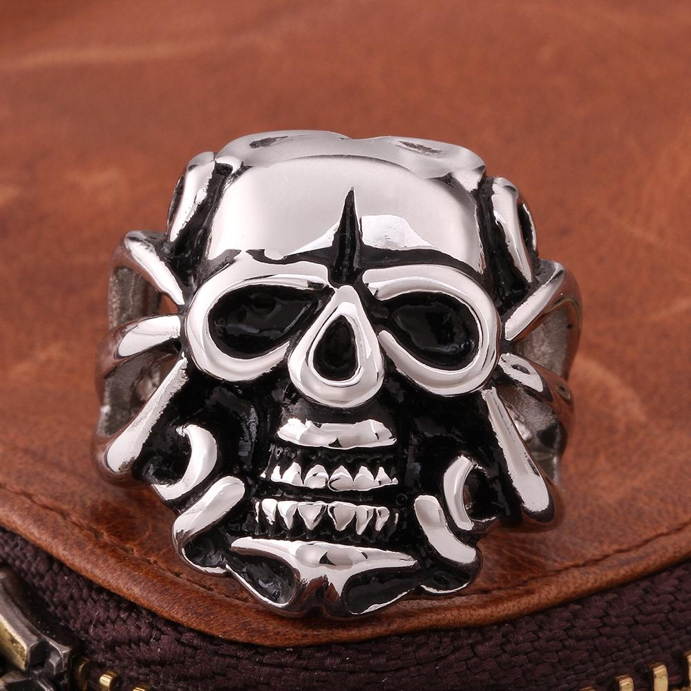 316L Stainless Steel Men Main Skull Ring - The Trendy Accessories Store
