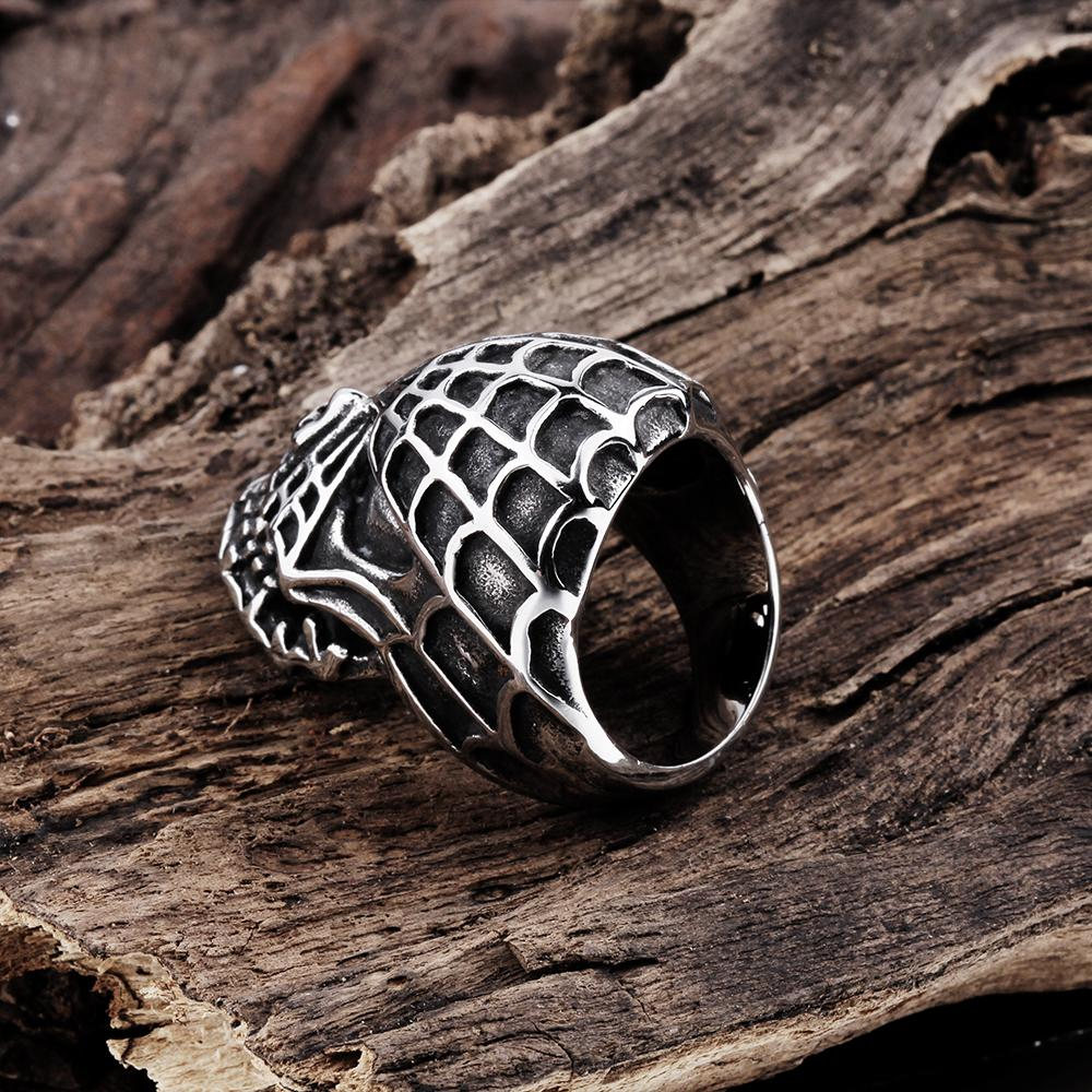 316L Stainless Steel Spider Web Skull Men's Ring - The Trendy Accessories Store
