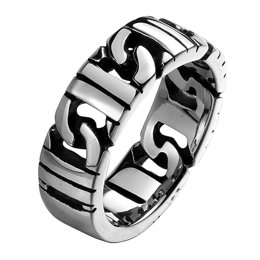 316L Stainless Steel Curb Link Men's Ring - The Trendy Accessories Store