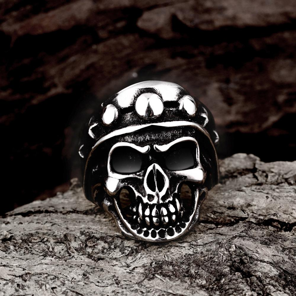 316L Stainless Steel Men's Skull Tassel Ring - The Trendy Accessories Store