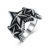 316L Stainless Steel Multi Black Stars Ring - The Trendy Accessories Store
