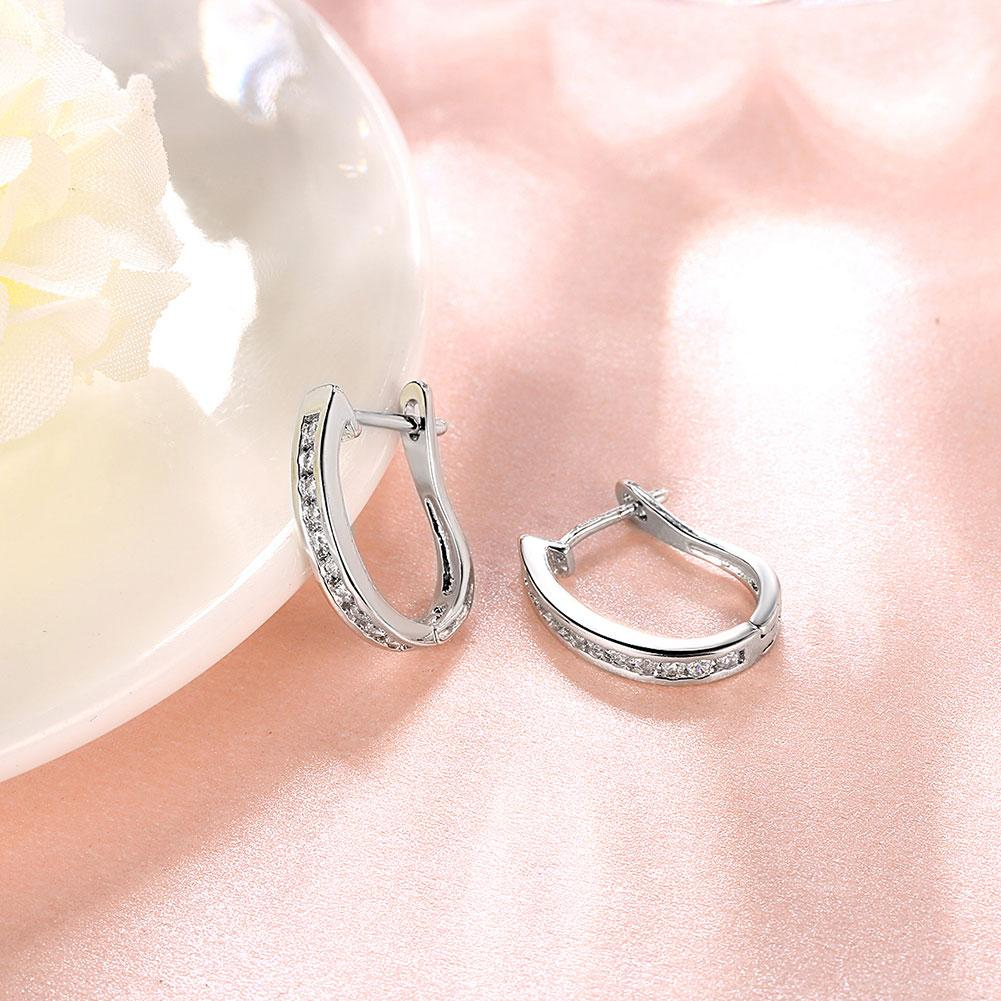 Pave Huggie Earring Huggie Earring in 18K White Gold Plated - The Trendy Accessories Store