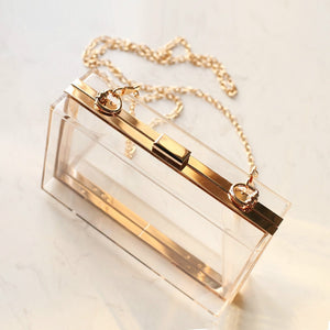 Trendy Transparent Handbag With Gold Plated Luxury Chain - The Trendy Accessories Store