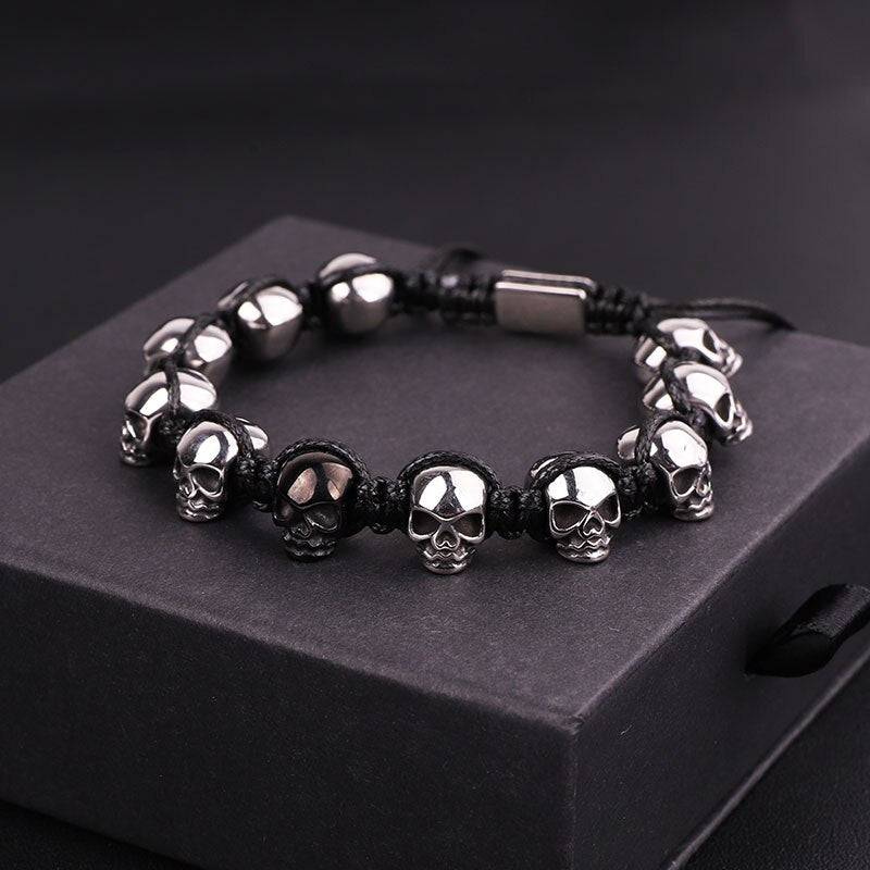 Stainless Steel Skull Braided Wrap Beads Bracelet - The Trendy Accessories Store