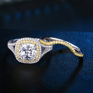 White and Yellow Gold Plated Halo Engagement Ring and Band Set - The Trendy Accessories Store