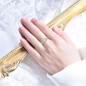 14K Gold Plated Sterling Silver Wedding and Engagement Rings Set - The Trendy Accessories Store