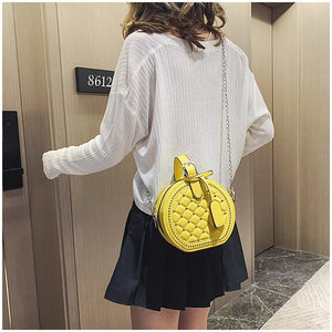 Round Rivet Fashion Chain PU Leather Bag - The Trendy Accessories Store