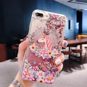 Floral and Unicornwith Glitter Water Liquid iPhone Case - The Trendy Accessories Store