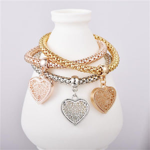 Trio Gold Filigree Hearts Charm Mesh Bracelets Sets - The Trendy Accessories Store
