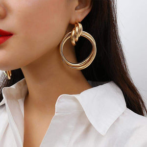 Oversized Gold Plated Round Alloy Drop Earrings - The Trendy Accessories Store