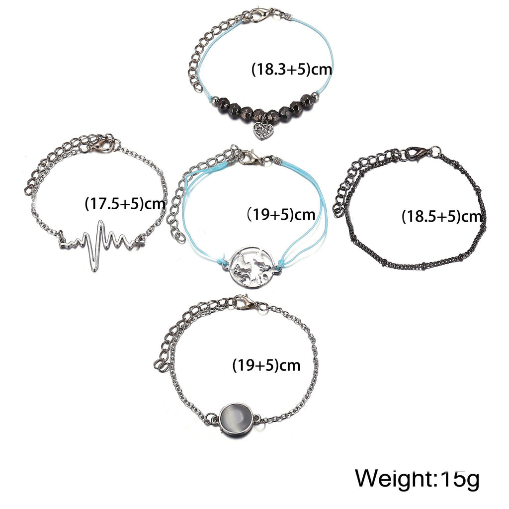 5 Piece Heartbeat Bracelet Set 18K White Gold Plated Bracelet in 18K - The Trendy Accessories Store