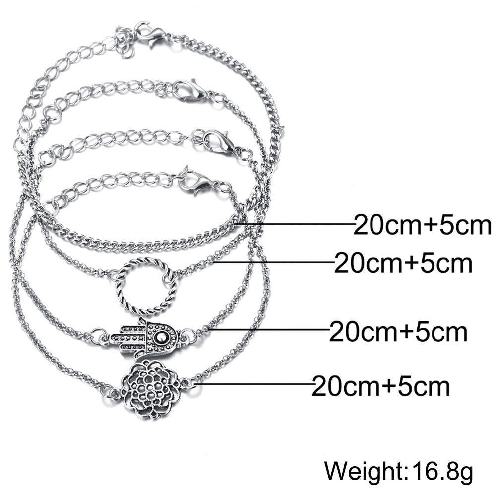 4 Piece Hamsa Set 18K White Gold Plated Bracelet in 18K White Gold - The Trendy Accessories Store