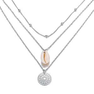 Bohemian and Shell 3 Piece Layer 18K Gold Plated Necklace in 18K Gold - The Trendy Accessories Store