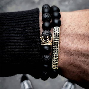 Classic Crown Rectangle Beads Black Stone Bracelet - The Trendy Accessories Store
