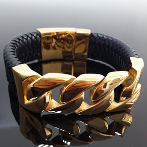 Stainless Steel Gold Curb Chain Bangle Bracelet With Genuine Leather - The Trendy Accessories Store