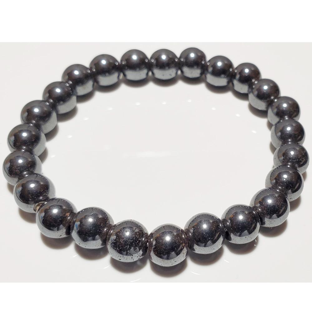 8mm Hematite Beaded Elastic Stretch Bracelet - The Trendy Accessories Store