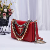 Premium Gold Plated Chain Leather Handbag - The Trendy Accessories Store
