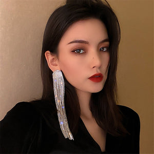Ovsize Long Crystal Drop Earrings - The Trendy Accessories Store