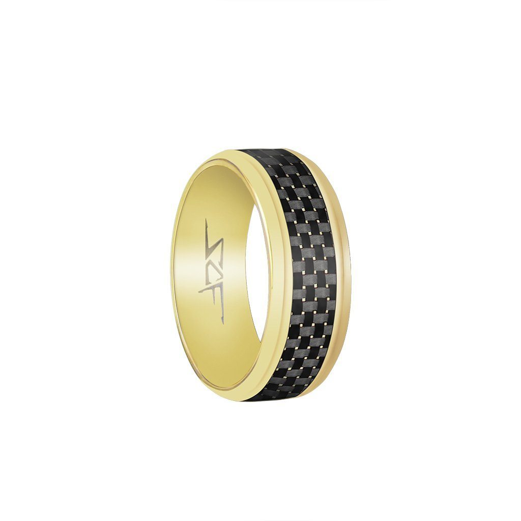 ●SLATE● Real Carbon Fiber Ring (GOLD) - The Trendy Accessories Store