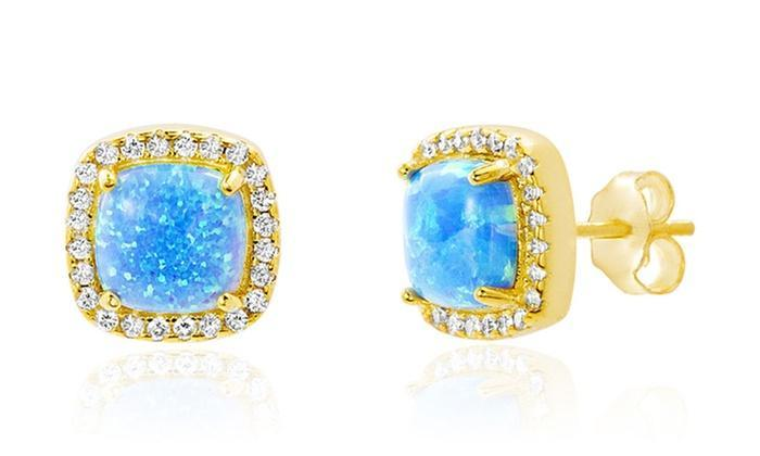 Opal Created 1.00 CT Stud Earring with Swarovski Crystals - 14K Gold - The Trendy Accessories Store