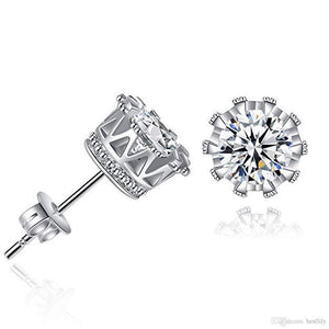 Pave Halo Round Princess Stud Earring Embellished - The Trendy Accessories Store