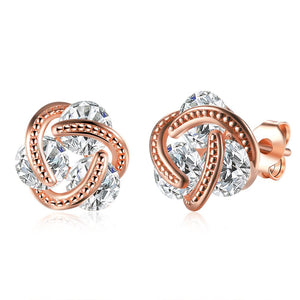 Triple Stone Knot Stud Earring in 18K Rose Gold Plated - The Trendy Accessories Store