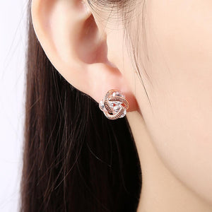 Triple Stone Knot Stud Earring in 18K Rose Gold Plated with Swarovski - The Trendy Accessories Store