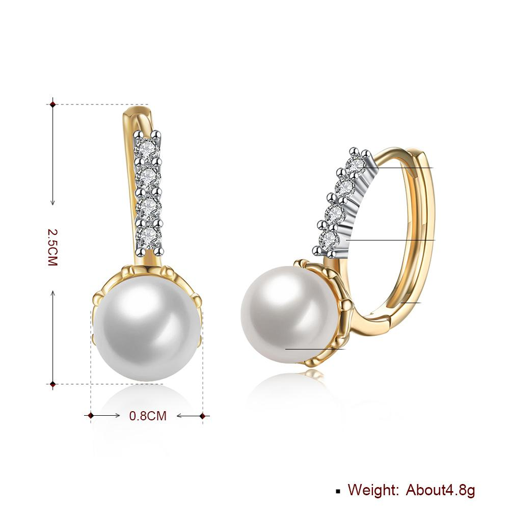 Freshwater Pearl Leverback Earring in 18K Gold Plated with Swarovski - The Trendy Accessories Store