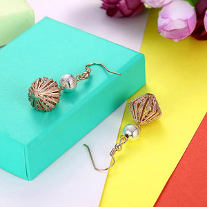 Multi Color Genuine Laser Cut Drop Earring in 18K Rose Gold Plated - The Trendy Accessories Store