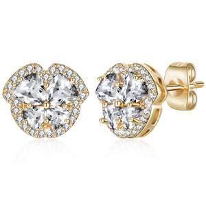 Pave Heart Stud Earring in 18K Gold Plated with Swarovski Crystals - The Trendy Accessories Store
