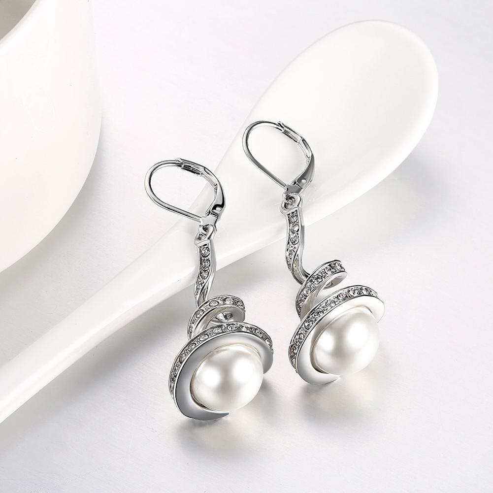 Pave Swirl Drop Earring in 18K White Gold Plated - The Trendy Accessories Store