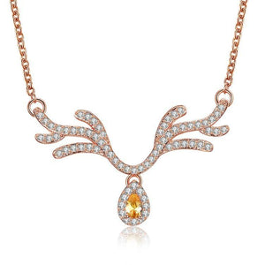 Citrine Reindeer Antler with Swarovski Crystal Necklace - The Trendy Accessories Store