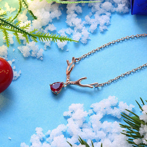 Reindeer Christmas Inspired Necklace in 18K Rose Gold Plated - The Trendy Accessories Store